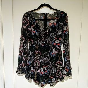 Floral Romper with Bell Sleeves